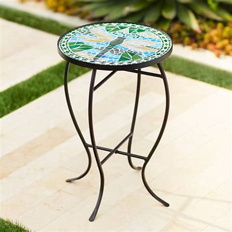 outdoor mosaic accent table dragonfly mosaic black iron outdoor accent table 6f094