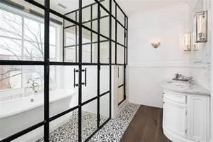 Vintage Black And White Tile Bathroom - master bathroom with enclosed tub transitional bathroom
