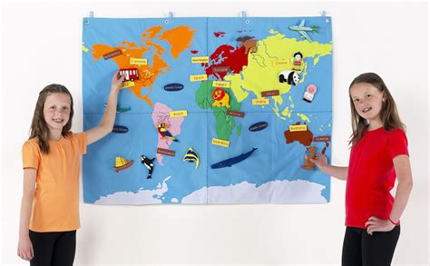 children s interactive world map cloth wall chart