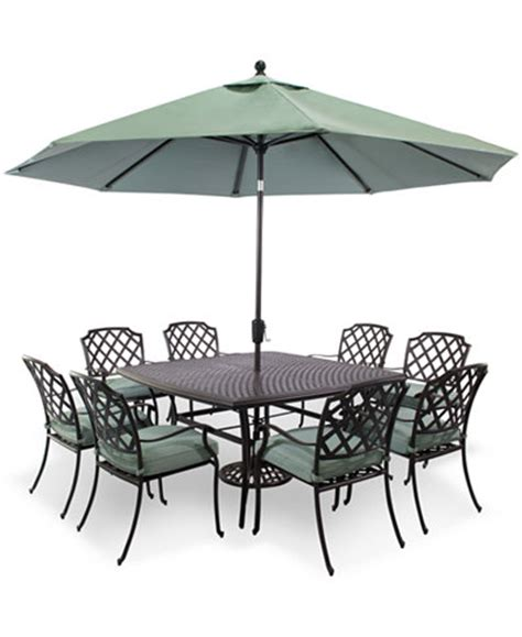 Cast Aluminum Patio Table And Chairs Closeout Nottingham Outdoor Cast Aluminum 9 Pc Dining Set 60 Quot Square Dining Table And 8