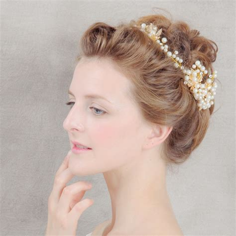 Wedding Hair Accessories High by High Quality Gold Plat Royal Hair Jewelry Fashion Pearl