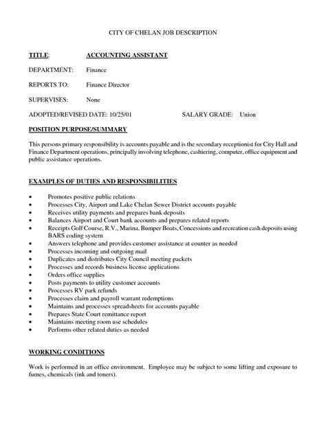 Employment Letter With Duties Best Photos Of Sle Description Template Description Sle Sle