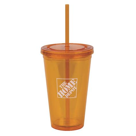 the home depot 16 oz insulated cup in orange 1424342 00