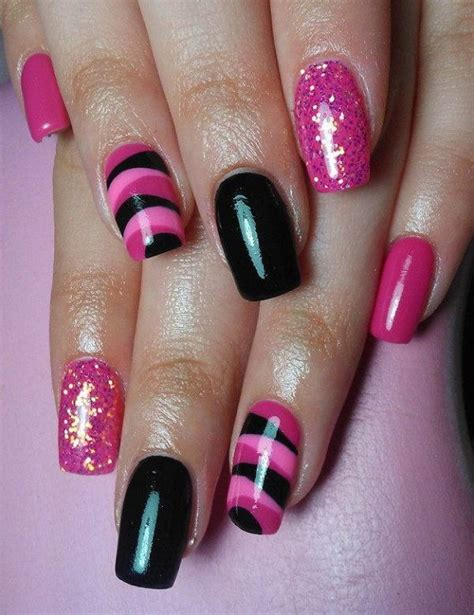 50 beautiful pink black nail designs 2017