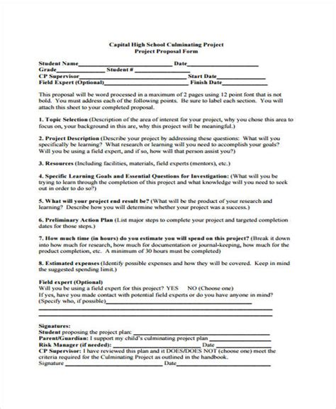 senior project template 15 school project templates free sle