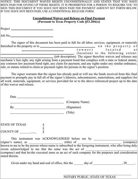 lein template mechanics lien release form form resume exles