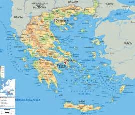 large detailed physical map of greece with all cities
