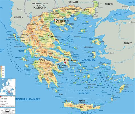 map of all cities large detailed physical map of greece with all cities