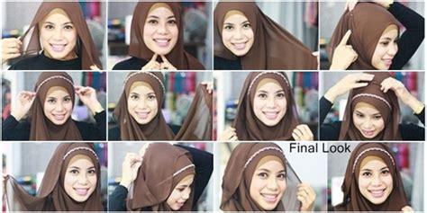 tutorial hijab turban untuk pipi tembem tutorial kreasi hijab syari dengan headband tutorial