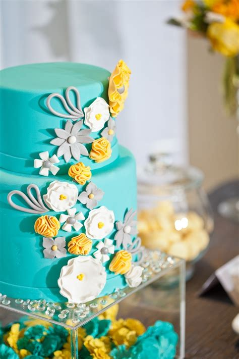 turquoise and yellow turquoise and yellow wedding cakes www imgkid com the