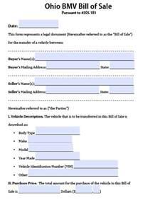 free ohio bmv vehicle bill of form pdf word doc