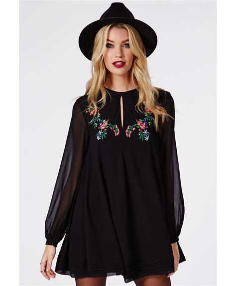 embroidered swing dress missguided pamela embroidered swing dress black in black