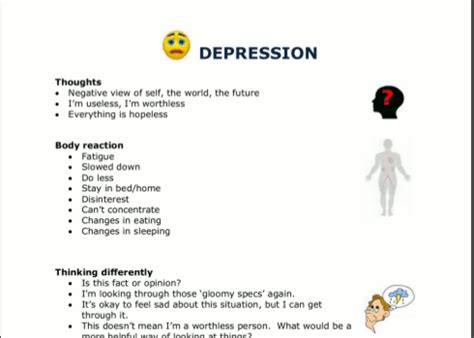 Depression Worksheet by Coping With Depression Worksheets The Knownledge