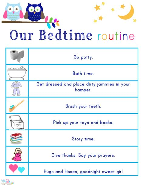 printable toddler bedtime routine chart kids morning bedtime and ready for school free