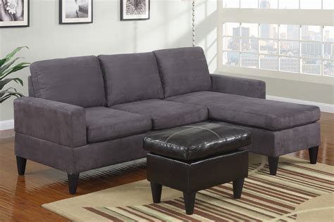 small grey microfiber suede sectional sofa with ottoman