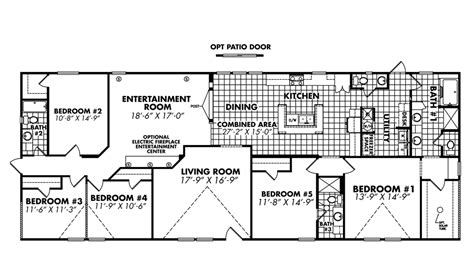 doublewide home floor plans 5 bedroom floor plans