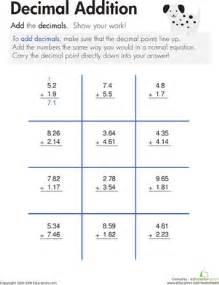 decimal addition   worksheet   education.com