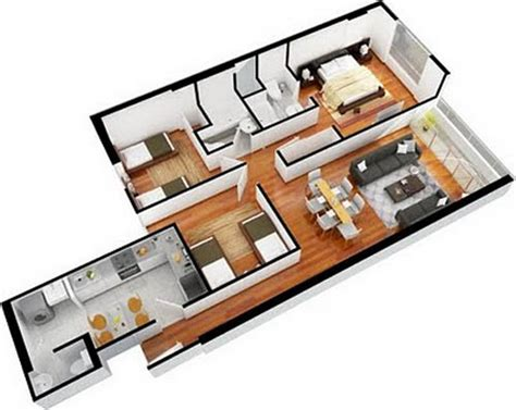 3 bedroom flat architectural plan house plans and design architectural designs of three