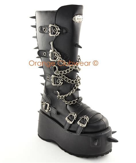 spiked mens boots demonia 808 mens spiked knee boots ebay
