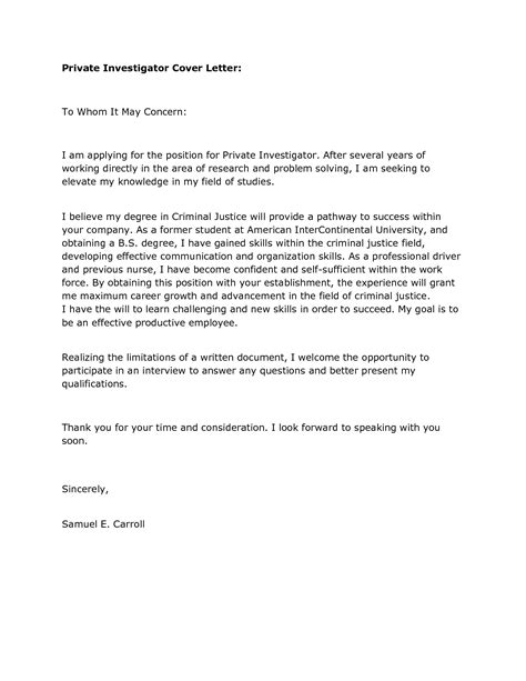 cover letter for criminal justice cover letter for internship position criminal justice
