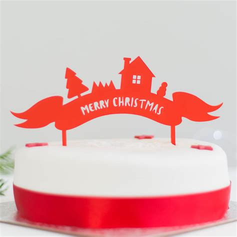 merry christmas cake topper by rocket and fox