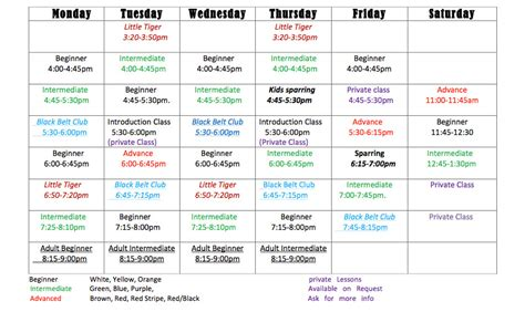 Mount S Mba Couse Schedule by Lessons Schedule Gallery