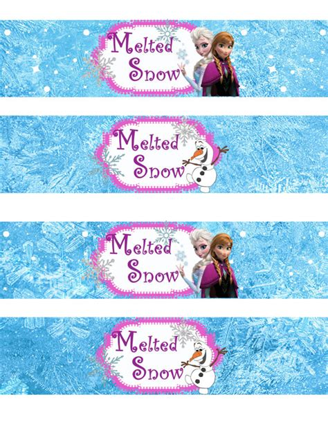 printable frozen drink labels instant download frozen water bottle wrappers by