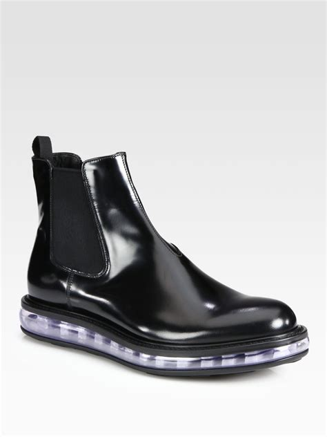 prada spazzolato leather chelsea boot in black for lyst