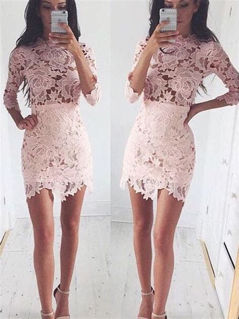3 4 Sleeve Lace A Line Mini Dress a line princess 1 2 sleeves scoop lace mini dresses