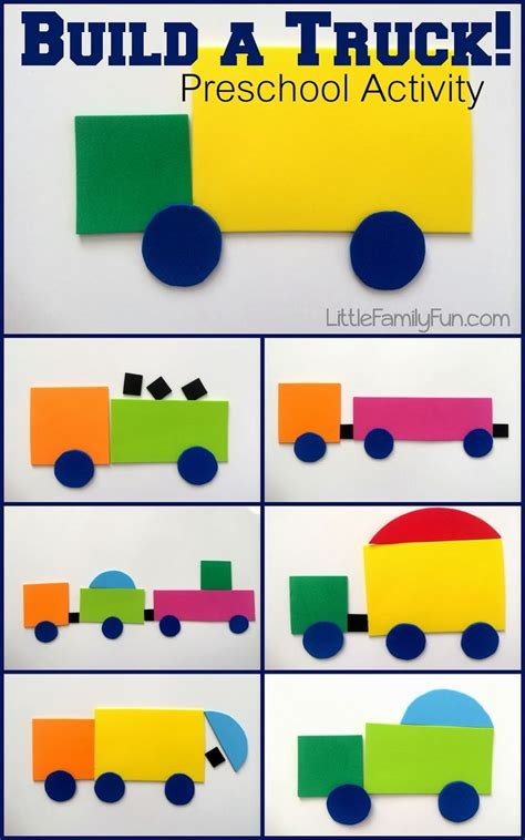 kindergarten activities on pinterest build a truck fun way to review shapes with preschoolers