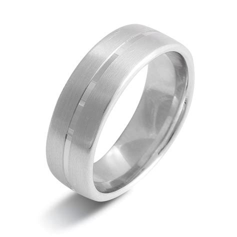palladium 950 6mm brushed finish wedding ring