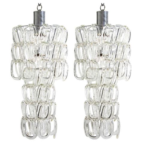Matching Pendant Lights And Chandelier Matching Pair Of Angelo Mangiarotti Glass Chandeliers At 1stdibs