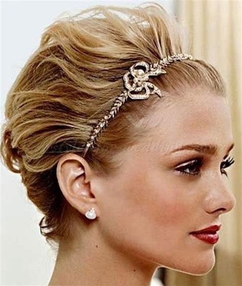 hairstyles with headband for short hair short wedding hairstyles short bridal hairstyle with