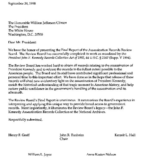Transmittal Letter Research Paper report of the assassination records review board
