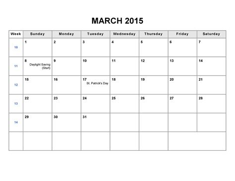 printable calendar 2015 for march printable blank monthly calendar 2015 part 1 kiddo shelter