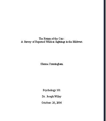Title Page Sle For Research Paper by Sle Pages In Mla Format