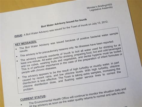 boil water advisory in inuvik top of the world