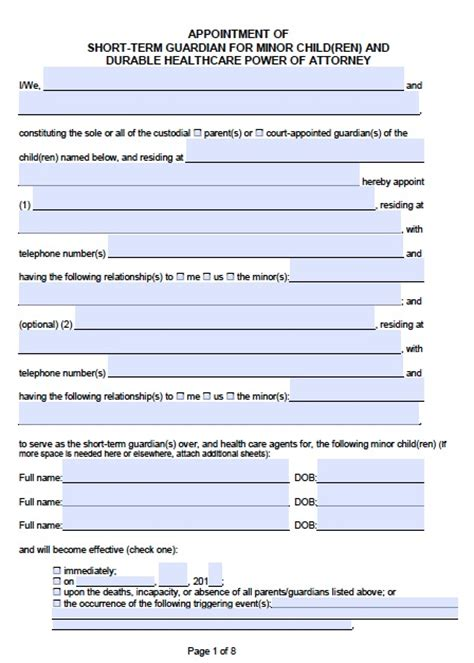 Free California Guardianship For A Minor Poa Form Template Power Of Attorney Template California