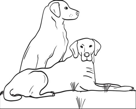Two Dogs Coloring Page | free printable two big dogs coloring page for kids