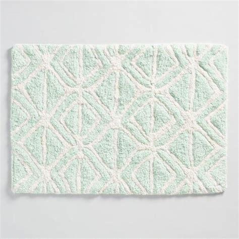 mint bath rug mint and ivory tribal tufted bath mat world market