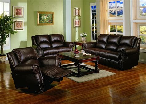 living room with leather sofa dark chocolate brown bonded leather living room w recliners