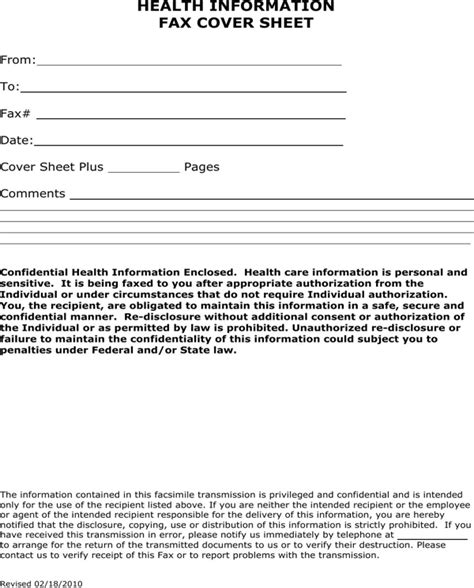 health information fax cover sheet for free