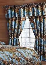 Camo the woods curtains five pc set and valance drapes powder blue