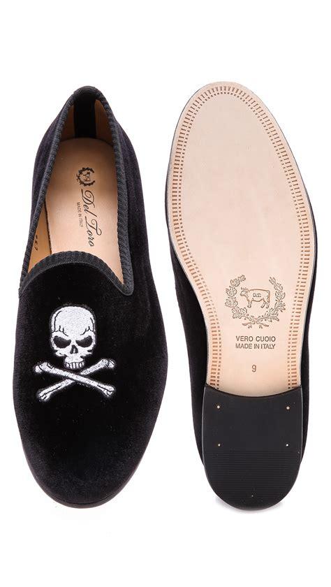 mens skull slippers lyst toro velvet skull embroidered slippers in black