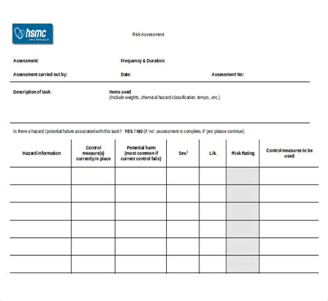 formal risk assessment template sle risk assessment forms 10 free documents in pdf word