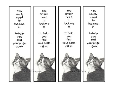 Their Black Bookmarks by Printable Bookmarks Kitten Looking Up Pencil