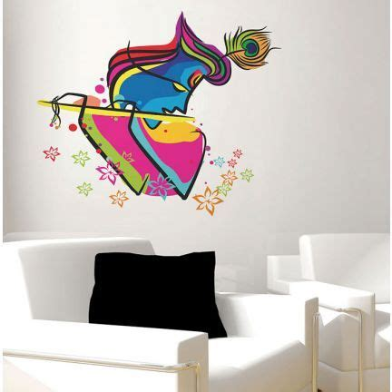 decal dzine abstract art krishna wall sticker add oodles