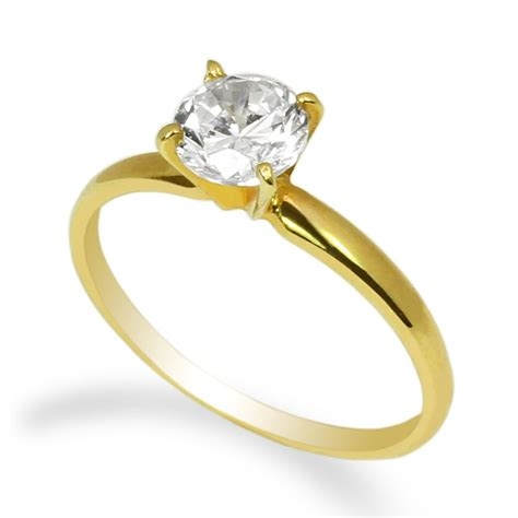 10k yellow gold solid solitaire ring 0 8ct cz