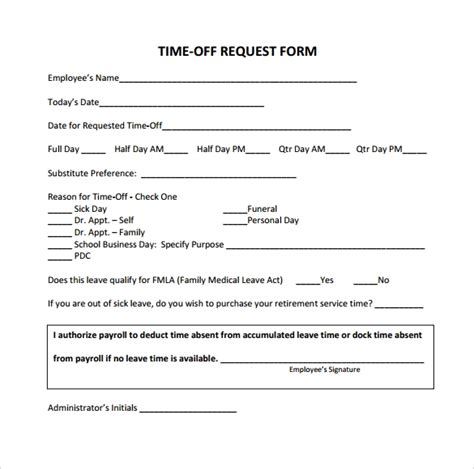 24 Time Off Request Forms To Download Sle Templates Time Request Form Template