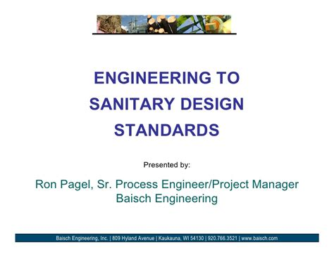 design for manufacturing standards engineering to sanitary design standards 0809 rpp
